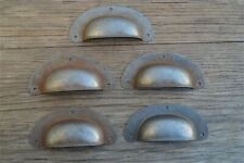 SET OF 5 ANTIQUE PRESSED AGED STEEL DRAWER HANDLE FILING INDUSTRIAL PULL CB11