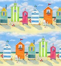 Nautical Fabric - Beach Vista Colorful Cabana Stripe Elizabeth Studio 1.77 YARD
