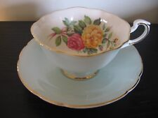 PARAGON MINT GREEN MUM WILD ROSE TEACUP AND SAUCER
