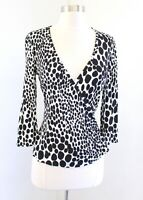 Trina Turk Black White Spotted Animal Print Ruched Wrap Front Top Blouse Size M
