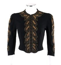 Vtg Victorian Edwardian Black Wool Gold Cord Embroidered Sequin Cropped Jacket