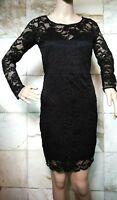 Ladies AMBIANCE APPAREL Black Long Sleeve Floral Lace Dress Size Medium