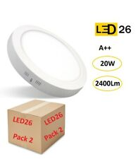 Pack 2 Plafones LED DownLight 20W panel superficie redondo 210mm blanco LED26