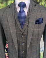 Men's Gray 3Piece Classic Tweed Herringbone Check Slim Fit Vintage Suit Custom