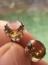 Stunning Antique/Vintage 9 Ct yellow gold Citrine stud earrings - excellent HM