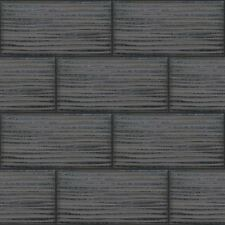 Holden Brick Tile Effect Black Glitter Wave Kitchen Bathroo Wallpaper 83922