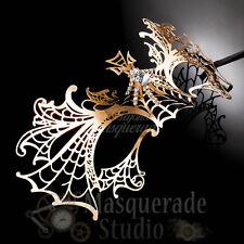Womens Dragon Inspired Filigree Metal Laser-Cut Venetian Masquerade Mask [Gold]