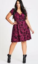 Dress 20W Plus City Chic $89 NWT Belted Fit Flare Black Floral V-Neck MC425