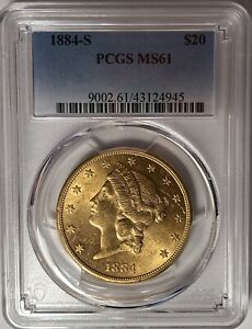 1884-S $20 LIBERTY GOLD DOUBLE EAGLE PCGS MS61 — TOUGHER DATE!!