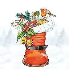 AMBIENTE EXCLUSIVE 20 Paper Lunch Napkins Christmas Boot Decoupage 33X33cm