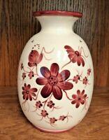 "Vintage Bulle Dubuis Bosshard Peacock Floral Red Vase Switzerland Rare 7-3/8"""