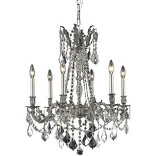 6 LIGHT PEWTER COLOR CHANDELIERS ASFOUR CRYSTAL DINING LIVING ROOM BEDROOM FOYER
