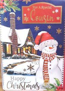 COUSIN CHRISTMAS CARD ~ Traditional Snowman In Garden
