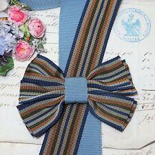 "1y 1.25"" FRENCH NAVY BLUE STRIPE GROSGRAIN RIBBON TRIM HAT JACQUARD VTG FEDORA"