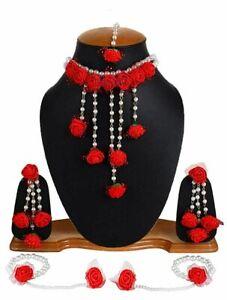 Bridal Floral Jewelry Necklace Set Indian Haldi Mehndi Wedding Bollywood Jewelry