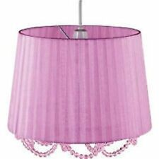 REDUCED - Elegant Lilac Pleated Organza Pendant Shade with Lilac Hanging Beads
