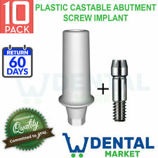 X 10 Dental Plastic Castable Abutment Screw Implant Osstem Regular Replica