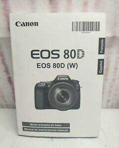 New Canon EOS 80D (W) Basic Instructions Manual Made in Japan Español  Francais