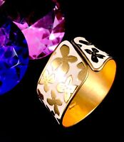 RARE VINTAGE SIGNED VALENTINO GOLD-TONE CREAM ENAMEL FLOWER WIDE CUFF BRACELET