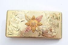 LAZY K MA. B.H. GOLD TRIM 10K GOLD EMBOSSED & ETCHED DESIGN BELT BUCKLE 0414