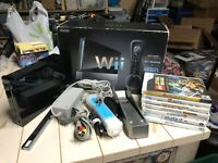Nintendo Wii RVL-001 Black GameCube Compatible Console Complete With Games