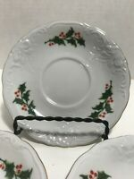 Wawel China Made in Poland Christmas holly berry pattern saucer dishes gold trim