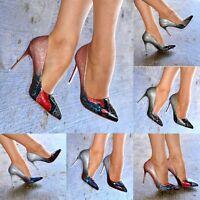 Ladies Pointed Toe Multicolor Stiletto Heels Classy Patent Closed Toe Court Shoe