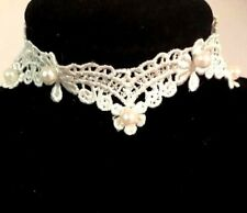 Pearl Detailed Ivory Lace Choker Necklace Vintage Cute Pretty Glam Wedding