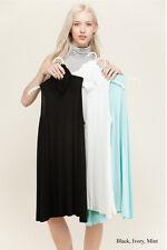 Womens Plain Tunic Mini Dress Sleeveless Mock Neck A-Line Casual Summer Knit S-L