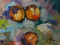 JOSE TRUJILLO - Original OIL PAINTING MODERN Collectible Peaches Still Life 12""