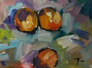 "JOSE TRUJILLO - Original OIL PAINTING MODERN Collectible Peaches Still Life 12"""