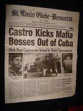 FIDEL CASTRO KICKS OUT MAFIA BOSSES HISTORICAL NEWSPAPER
