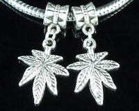 30pcs Tibetan Silver Marijuana Cannabis Leaf Dangle Charms Fit Bracelet ZY80