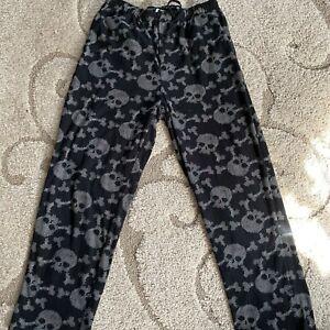 Joe Boxer Mens Black Skull Print Drawstring 100% Polyester Pajama Pants Size L