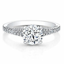 0.86 Ct Moissanite Diamond Solitaire Engagement Ring White Gold Finish Size 7