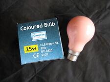2x  CROMPTON PINK  25W Coloured B22 BC Bayonet Lamp Light Bulb 240V Old Style