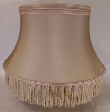100% Pure Silk Smoky Taupe Floor Lamp Shallow Drum Shade With Braid, Fringe 840T
