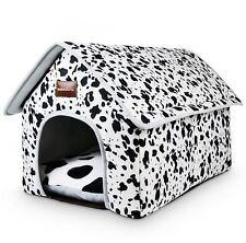 New White Milch Cow Pet Dog Cat House Beds Kennel Tent Cushion Zipper Size S-L