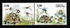 Turtles se-tenant pair mnh stamps Tajikistan 2016 bees dragonflies flowers