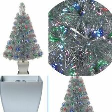 32 Inch SILVER Fiber Optic Artificial Christmas Tree Color Change Holiday Time