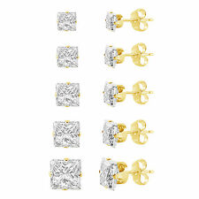 Yellow Gold Plated Silver Square Cut Clear CZ Stud Earring Set (5 Pairs) 3 - 7mm