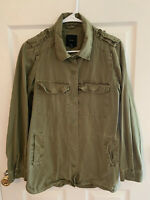 Forever 21 Green Military Lightly Distressed Button Up Shirt Womens Large EUC!