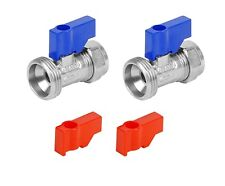 """Hot + Cold Sink Hose Connector Taps Straight for Washing Machines 15mm x 3/4"""""""