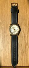 FOSSIL Machine FS5264 Men's Wrist Watch Gold and Black Leather Dress Watch New!