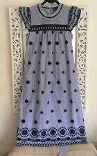 Zara 100 Cotton Ivory Embroidered Floaty Maxi Dress Size M 8 10