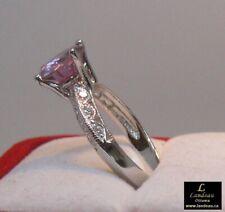 2.56 ct Pink Diamond & White Topaz Silver Ring
