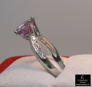 2.56 ct Pink Diamond & White Topaz Silver Ring
