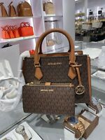 NWT Michael Kors Hope Medium Messenger Satchel & Double Zip Wallet Brown Logo