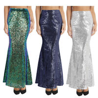 UK Womens Ladies Sequin Mermaid Skirt Long Maxi Skirts Fancy Party Evening Dress