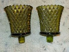 """Pair of green diamond point glass peg votive candle holder, 3 3/4""""including stem"""